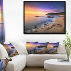 Designart 'Sunset in Cala Violina Bay Beach' Extra Large Seashore Framed Canvas