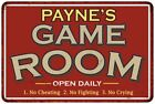 PAYNES Game Room Personalized Sign Vintage Look Metal Wall 108120001350