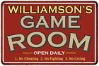 WILLIAMSONS Game Room Sign Vintage Distressed G488Metal Wall Dcor 108120001488