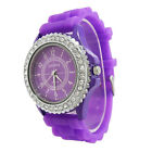 Fashion LADIES WOMEN Soft Silicone Strap Rhinestone Quartz Analog Wrist Watches