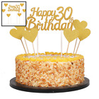 Gold Glittery Happy Birthday Cake Toppers & Love Star Smash Party Deco 30Th