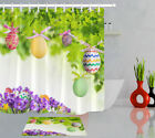 72in Colorful Easter Eggs Flower Polyester Fabric Shower Curtain Hooks Bath Mat