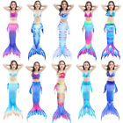 Kids Girl Mermaid Tail Bikini Set - Swimmable Tail Swimming Swimwear Costumes