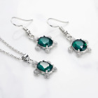 Crystal Drops Jewellery Set Stud Earrings Necklace and Pendant Ladies Gift