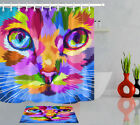 Abstract Cat Face Kids Child Bathroom Polyester Fabric Shower Curtain Set 72ins
