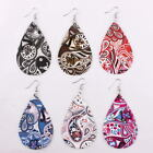 2019 Spring Summer Fashion New Paisley Floral Print Teardrop Pu Leather Earrings image