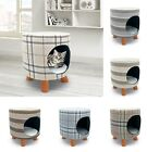 Check / Stripe Pet Bed Stool Cat Kitten Hideaway Cat House Igloo Space Saving
