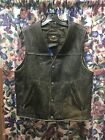 Harley Favidson Vintage Washed Mens Leather Vest - M -