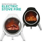 1.8kw Log Fire Electric Heater Oval Flame Effect Fireplace Log Burner Stove LED
