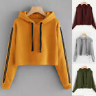 Women Long Sleeve Hoodie Sweatshirt Jumper Hooded Pullover Short Crop Tops US