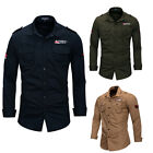 Men's Cotton Military Casuall Dress Shirts Long Sleeve Outdoor Army Shirt Tops