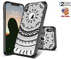 iPhone XXS Case Shockproof Slim Fit Dual Layer Clear Hybrid Black Mandala Cover
