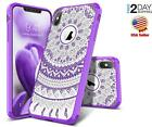 iPhone XXS Case Shockproof Slim Dual Layer Clear Hybrid Purple Mandala Cover