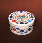 4'' Marble Round Jewelry Box Marquetry Gems Inlay Beautiful Gifts For Wife H3781