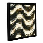 Shirly Novak's 'Black And Gold Geometric V Crop' Gallery Wrapped Floater-framed