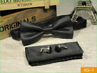 Men Formal Silk Bow Tie Bowtie Handkerchief Pocket Square Cuff Link Set Wedding