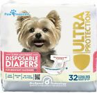 Female Diaper Paw Inspired Disposable Diapers- Choose Size XS,S,M, 32 per Pack