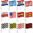 """12 Car Dealer Window Flags - You Pick From 12 Clip On Flag Designs (12"""" X 18"""")"""