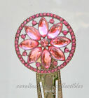 Silver Tone Bookmark With Pink Jeweled Rosette Topper NIB Argento SC Sicura