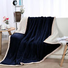 Reversible Thick 3 Layers Microfiber Plush Flannel Fleece Bed Blanket Twin Size image