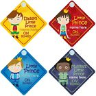 Prince on Board Personalised Boy Baby/Child Car Sign - Choice of designs