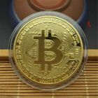 Gold Bitcoin Commemorative Round Collectors Coin Bit Coin Silver Plated CoinD*