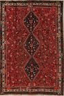 ANTIQUE One-of-aKind Geometric Persian Oriental Hand-Knotted 7x10 Tribal Red Rug