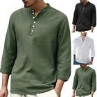 Mens Cotton Casual Shirts Linen Blouse 3/4 Sleeve Fitted Button T-shirt Tops image