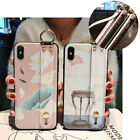For iPhon Xs Max XR 6s 7 8 Pretty Pattern Slim Strap Bracket TPU Shockproof Case