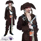 Mens Rum Smuggler Caribbean Pirate Jack Sparrow Fancy Dress Costume Outfit & Wig