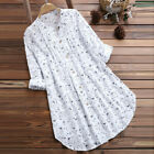 Plus Size Women Cotton and linen Floral Top Blouse Long Sleeve Loose Tunic Shirt