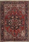 One-of-a-kid Antique Geometric Heriz Serapi Persian Hand-Knotted 8'x11' Area Rug