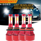 9005 + H11 6000K 3600W 540000LM Combo CREE LED Headlight Kit High Low Light Bulb