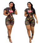 Women Fashion Short Sleeve Letter Print Camouflage Casual Club Jumpsuit Romper