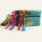 Embroidery Floral Sachet Square Lucky Bag Tassel Zipper Jewelry Storage Pouch Co