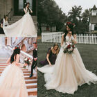 Long Sleeve Lace Appliques Bridal Gown Vintage Country Garden Wedding Dresses UK