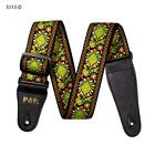 Acoustic Electric Guitar Leather Ends Strap Stripes Strap Woven Embroidery