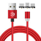 US 1~3M 360° Round Magnetic Charger Adapter IOS/Micro/Type-C Fast Charging Cable
