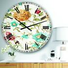 Designart 'Golden Flowers' Cabin & Lodge Large Wall CLock