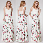Ever-Pretty White Bridesmaid Dresses Pink Floral Evening Ball Prom Gowns 07218