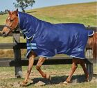 Saxon Medium Weight Combo Turnout Rugs - Navy With Blue Trim In Various Sizes