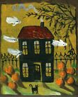 Happy Halloween Haunting House Flying Ghosts Pumpkin Black Cat  Art Print
