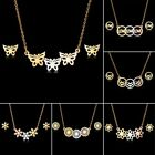 Fashion Stainless Steel Jewellery Set Gold Butterfly Pendant Necklace Earrings