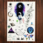 Watercolor Flash Galaxy Temporary Tattoo Sticker Planet Spacemen Tatoo Men Women