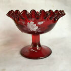 "VTG FENTON RUBY RED CRIMPED COMPOTE HAND PAINTED DONNA R WHITE ROSES 4"" GLASS"