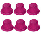6 x PINK GLITTER TOP HATS LADIES HEN NIGHT PARTY FANCY DRESS SPARKLE TOPPERS Q26