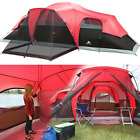 Large Outdoor Camping Tent, 10-Person 3-Room Cabin Screen Porch Waterproof Red günstig