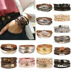 Women Multi-layer Leather Cuff Magnetic Clasp Bracelet Bangle Wristband Jewelry image