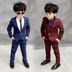 Chic Kids Boys Suits Formal Children Prom Page Wedding Party Suit Black Red Blue