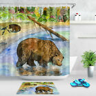 Watercolor Forest Bear Playing In The Water Shower Curtain Set Bathroom Mat